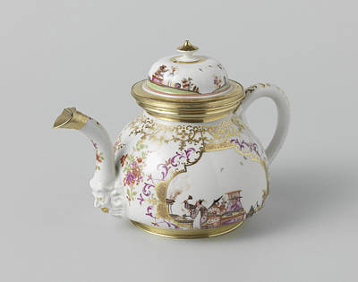 Teapot Painting - Teapot With Lid, Multicolor Painted With Chinoiserie by Quint Lox