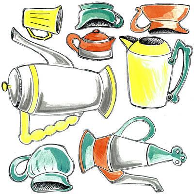 Teapot Mixed Media - Teapots 2 by Stephanie Thompson
