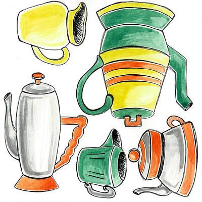 Teapot Mixed Media - Teapots 3 by Stephanie Thompson