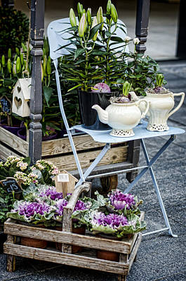 Purple Flowers Photograph - Teapots And Flowers by Heather Applegate