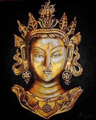 Bronze Mask Painting - Tear Born Tara by Greeshma Manari