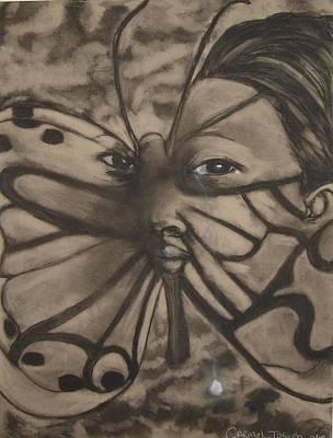Tears Drawing - Tear Drop Butterfly by Carmel Joseph