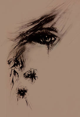 Suffering Drawing - Tear by Rachel Christine Nowicki