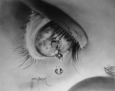 Tears Drawing - Tear by Xeno Haider
