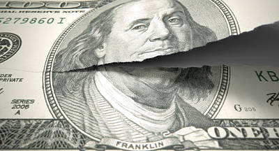 Tear Digital Art - Tearing American Dollar by Allan Swart