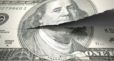 Split Digital Art - Tearing American Dollar by Allan Swart