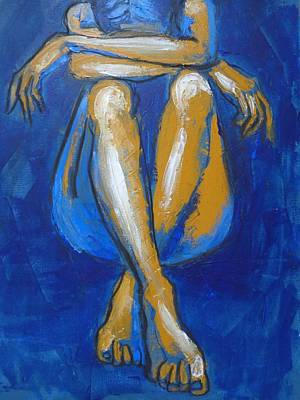Head On Knees Painting - Tears 2 - Female Nude by Carmen Tyrrell