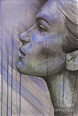 Graphite Mixed Media - Tears In The Rain by Michael Volpicelli