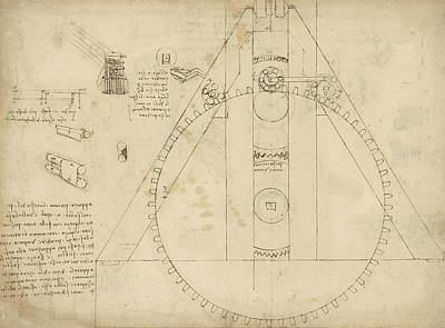 Scribble Drawing - Teaseling Machine From Atlantic Codex by Leonardo Da Vinci
