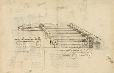 Plans Drawing - Teaselling Machine To Manufacture Plush Fabric From Atlantic Codex  by Leonardo Da Vinci