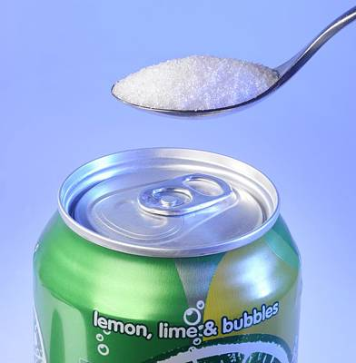 Teaspoon Of Sugar With Can Of Fizzy Drink Art Print