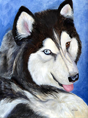 Husky Puppy Painting - Tebo by Elaine Hodges