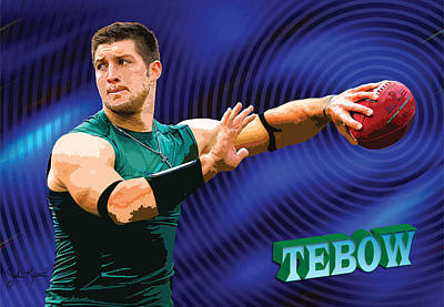 Tim Tebow Digital Art - Tebow by John Keaton