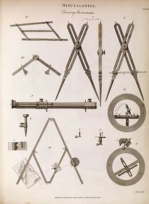1845 Photograph - Technical Drawing Devices by Middle Temple Library