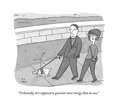 Dog Walking Drawing - Technically by Peter C. Vey