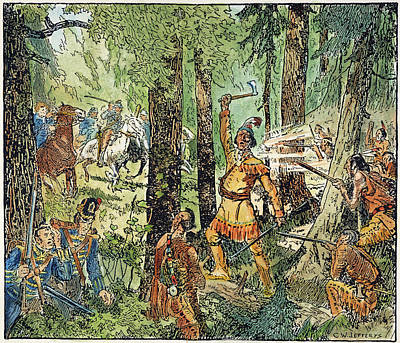 Drawing - Tecumseh Battlecry, 1813 by Granger