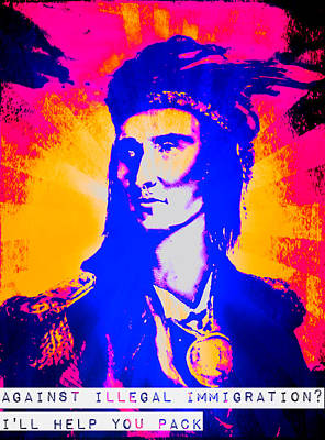 Mixed Media - Tecumseh On Illegal Immigration by Michelle Dallocchio