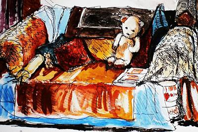 Ted On The Sofa Art Print by Anne Parker