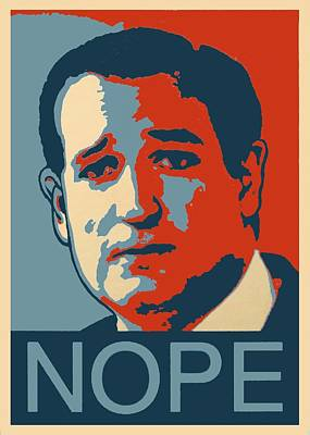 Obama Poster Digital Art - Ted Says Nope by Kazumi Whitemoon