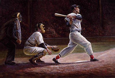 Ted Williams At Bat Print by Gregory Perillo