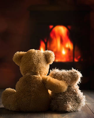 Sitting Bear Photograph - Teddies By The Fire by Amanda Elwell