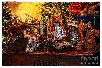 Old Stuff Digital Art - Teddy And Friends by Mary Machare