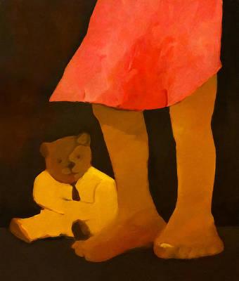 Teddy And Girl Art Print