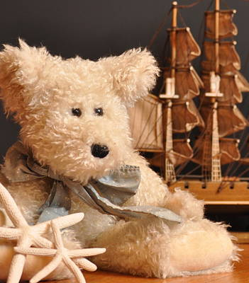 Old Stuff Digital Art - Teddy And Ship by Kerry Hauser