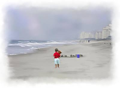 Sand Castles Mixed Media - Teddy Bear And Sand Castles  by Mary Timman