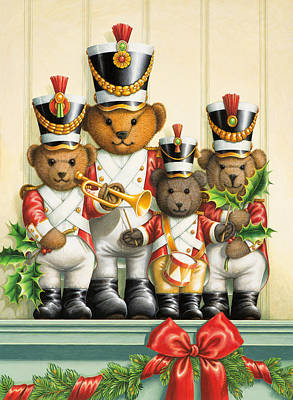 Marching Band Painting - Teddy Bear Band by Lynn Bywaters
