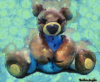 Bear Digital Art - Teddy Bear In Blue by Barbara Snyder