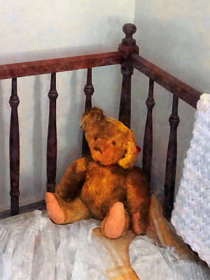 Photograph - Teddy Bear In Crib by Susan Savad