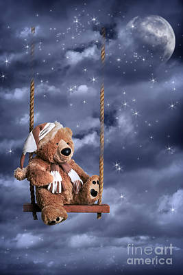 Sitting Bear Photograph - Teddy Bear In Night Sky by Amanda Elwell