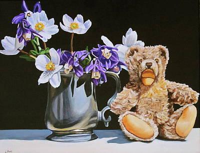 Teddy Bear Still Life Art Print by Lillian  Bell