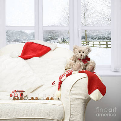 Teddy Bear On Sofa Print by Amanda Elwell
