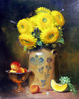 Painting - Teddy Bear Sunflowers by Keith Gunderson