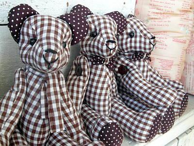 Tripple Photograph - Teddy Bear Triplets by Ian Scholan