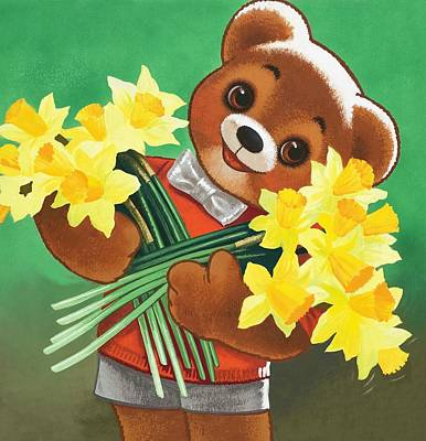 Fun Flowers Drawing - Teddy Bear by William Francis Phillipps