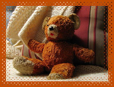 Marilyn Photograph - Teddy Bear With Dot Border by Marilyn Smith