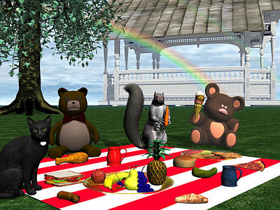 Digital Art - Teddy Bear's Picnic by Michele Wilson