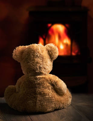 Sitting Bear Photograph - Teddy By The Fire by Amanda Elwell