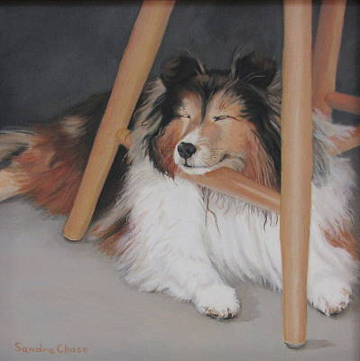 Dog Under Chair Painting - Teddy In My Studio by Sandra Chase