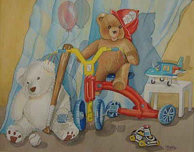 Teddy On A Bike Art Print by Madeline  Lovallo