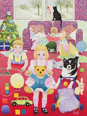 Teddys Christmas Pyjamas Art Print by Pat Scott