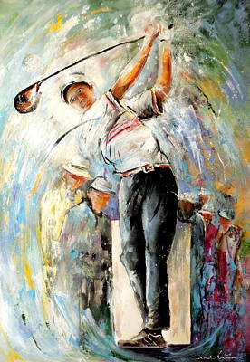 Sports Paintings - Tee Time by Miki De Goodaboom