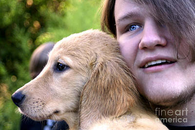 Photograph - Teen Boy And Golden Puppy 1 by Susan Stevenson