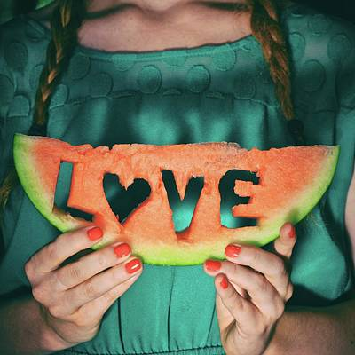 Teen With Watermelon Slice Art Print by