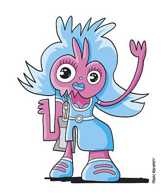 Cartoon Digital Art - Teenage Beauty Doodle Character by Frank Ramspott