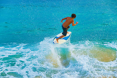 Photograph - Teenage Boy Skimboarding On Maui Hawaii by Don Landwehrle
