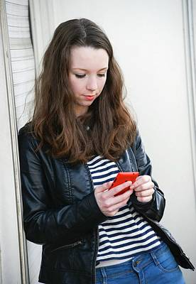 Teenage Girl Text Messaging Art Print by Aj Photo